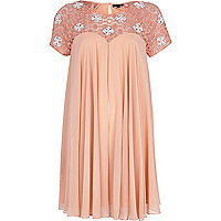 Light pink beaded lace panel babydoll dress