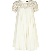 Cream beaded lace panel babydoll dress