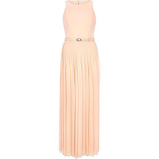 Light pink pleated maxi dress
