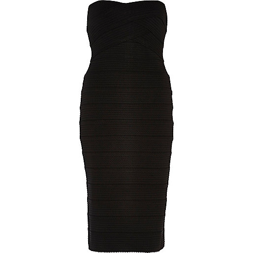 Black bandeau bandage midi dress