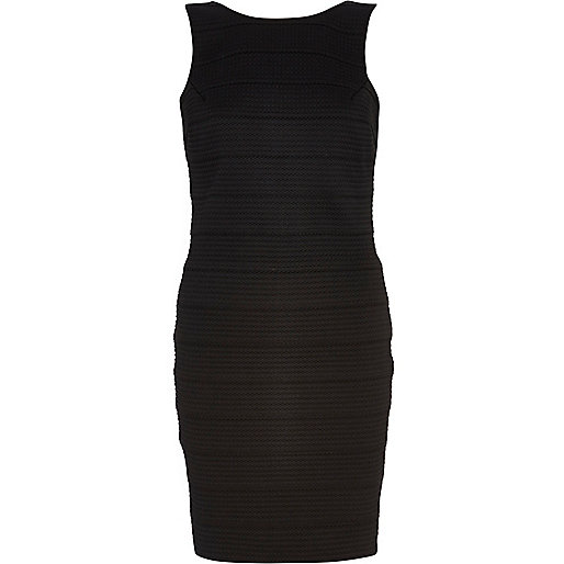 Black cut out back bandage dress