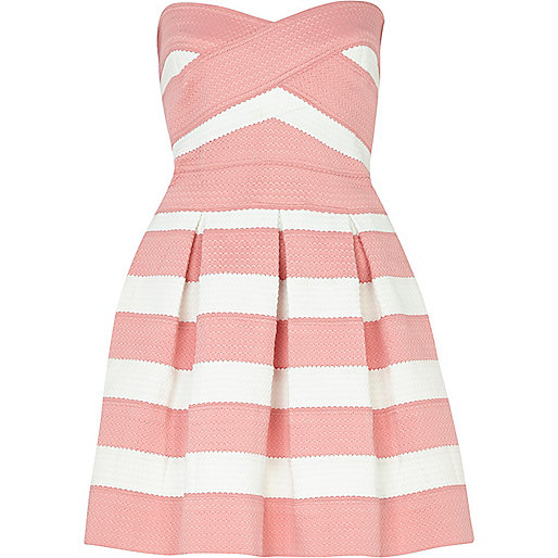 Pink and white bandage box pleat prom dress