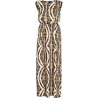 Brown abstract animal print maxi dress