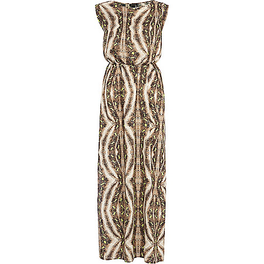 Brown abstract animal print maxi dress