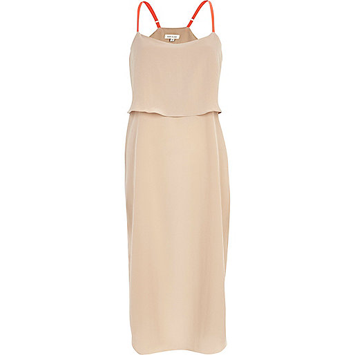 Light pink double layer slip dress