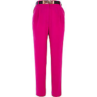 Pink high waisted curb chain belt trousers