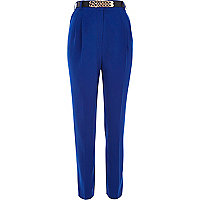 Blue high waisted curb chain belt trousers