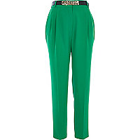 Green high waisted curb chain belt trousers