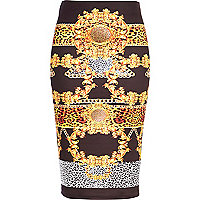 Black chain print tube skirt