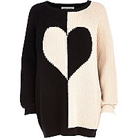 Black colour block heart jumper dress