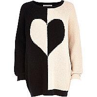 Black colour block heart jumper dress