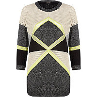 Grey colour block geometric tunic