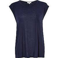 Navy wool-blend tank top