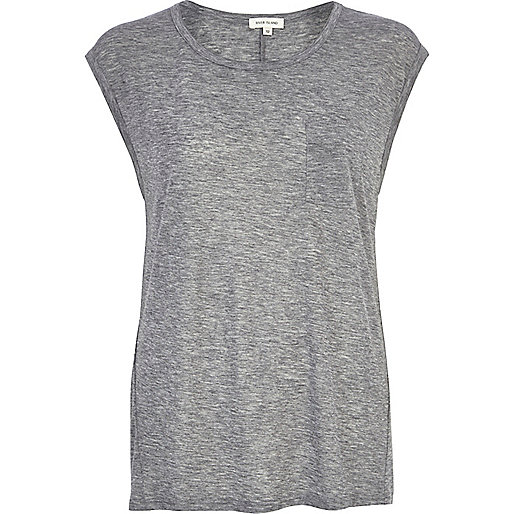 Grey marl wool-blend tank top