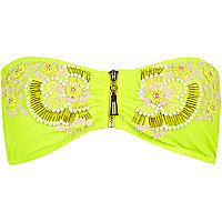 Lime Pacha beaded bandeau bikini top
