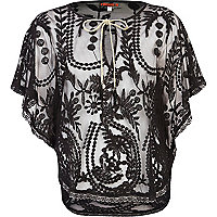Black Pacha embroidered mesh cape top