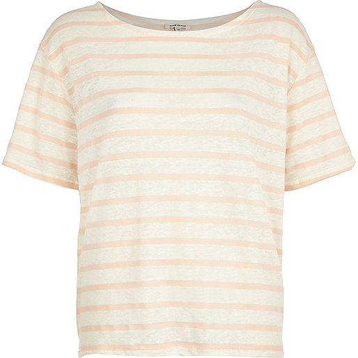 Pink and white stripe boxy t-shirt