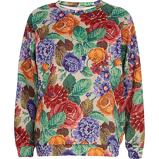 Red tapestry print scuba sweatshirt