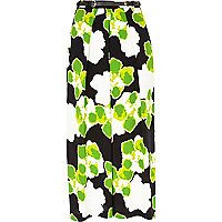 Green floral wide leg belted cropped trousers