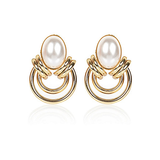 Gold tone faux pearl looped stud earrings