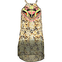 Yellow Pacha abstract embellished mini dress