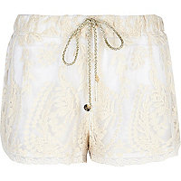 Cream Pacha embroidered mesh shorts