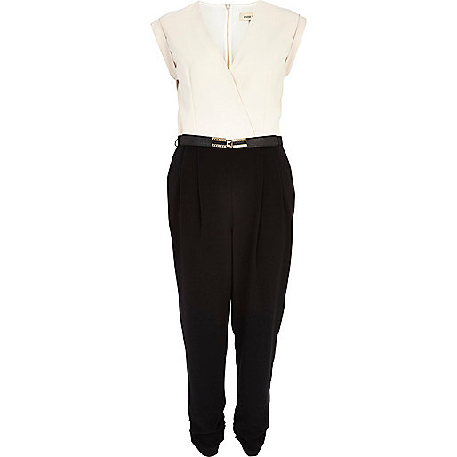 Cream two-tone wrap front belted jumpsuit