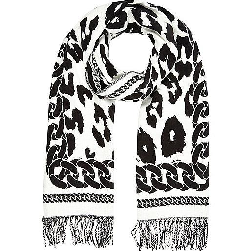 Black leopard chain print scarf