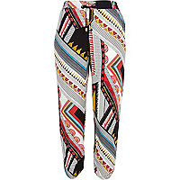 White border print casual trousers