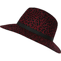 Dark red animal print fedora hat