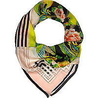 Cream oriental bird print square scarf