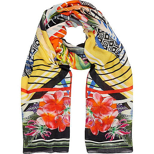 Multicoloured abstract digital print scarf