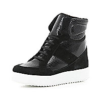 Black croc panel hidden wedge high tops