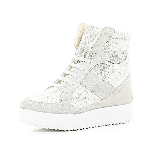 Light grey croc panel hidden wedge high tops