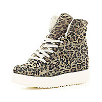 Brown leopard print flatform high tops