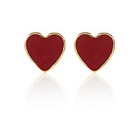 Red enamel heart stud earrings