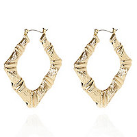 Gold tone creole square hoop earrings