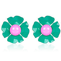 Green oversized flower stud earrings