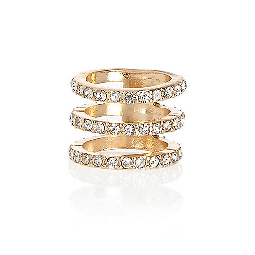 Gold tone diamante bar midi ring