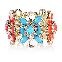 Multicoloured flower stretch bracelet