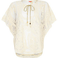 Cream Pacha embroidered mesh cape top