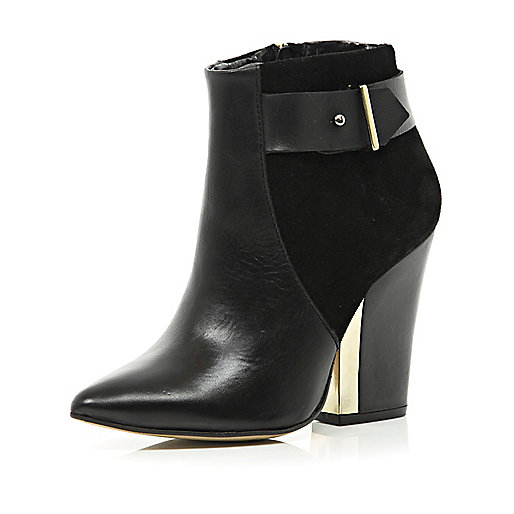 Black metal trim pointed block heel boots