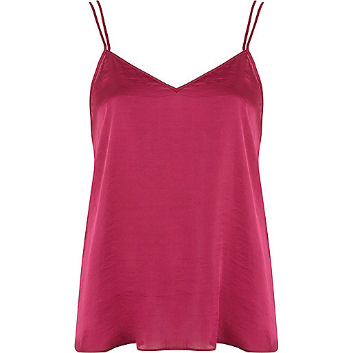 Dark pink V neck cami top