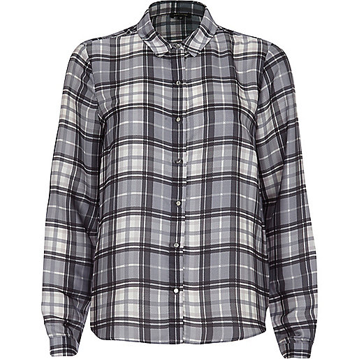 Grey tartan long sleeve shirt