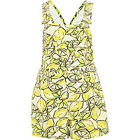 Yellow lemon print dungarees