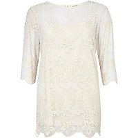 Cream mesh embroidered tunic