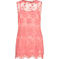 Pink mesh embroidered tunic