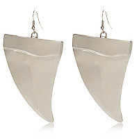 Silver tone tusk drop earrings