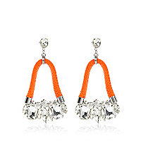 Orange bungee cord drop earrings