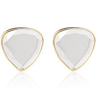 Gold tone clear triangle stud earrings